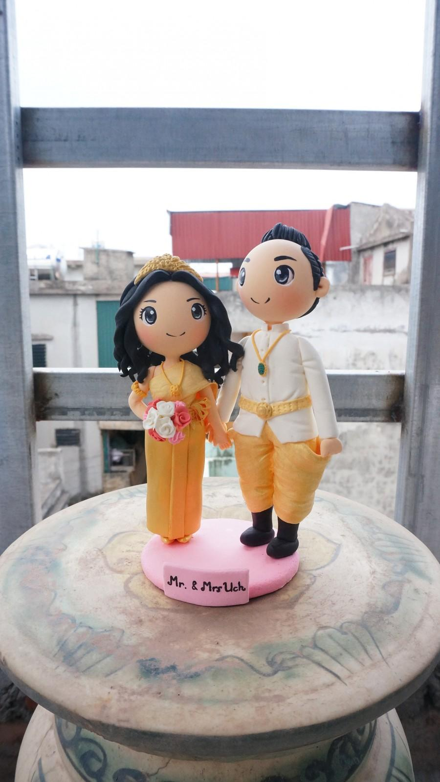 Wedding - Cambodian wedding cake topper clay doll, traditional wedding costume clay miniature
