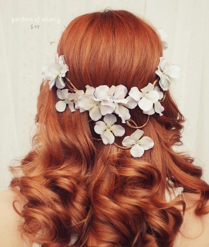 Wedding - Bridal crown, floral headpiece, woodland circlet, wedding hair accessory, fairytale hair wreath, lavender flower crown, whimsical hair vine