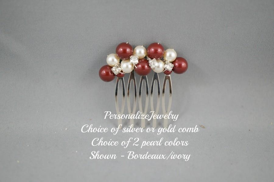 Wedding - Small Wedding Pearl Hair Comb, Bridal Pearl Comb, Wedding Hairpiece, Swarovski Crystal Pearl, Ivory Purple Comb, Bridesmaid Comb, Bride