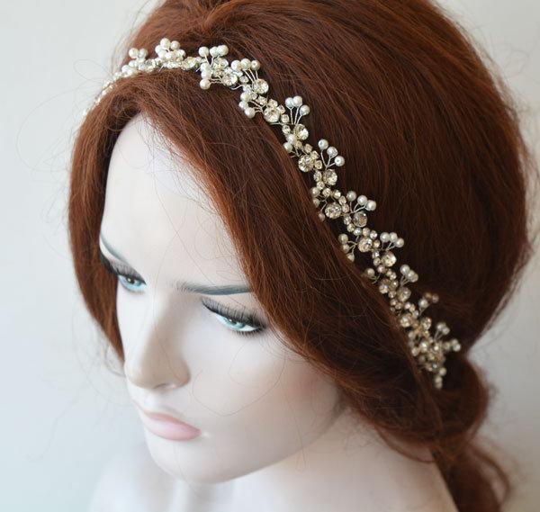 Wedding - Pearl Headpiece For Bride, Rhinestone and Pearl, Crystal Bridal Forehead Jewelry, Bridal Hair Piece, Bridal Hair Vine, Headband For Wedding