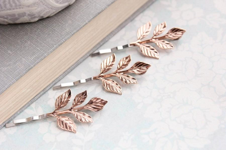 Wedding - Rose Gold Branch Bobby Pins Leaf Hair Pin Leaf Bobbies Nature Woodland Wedding Rose Gold Leaves Bridal Hair Accessories Grecian Clips