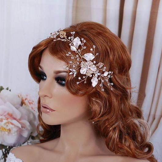 Wedding - Blush Gold Bridal Vine Headpiece Hair Wreath Hairpiece Head Piece Accessory Weddings Headband Bride Wedding Floral Party Wreaths Accessories