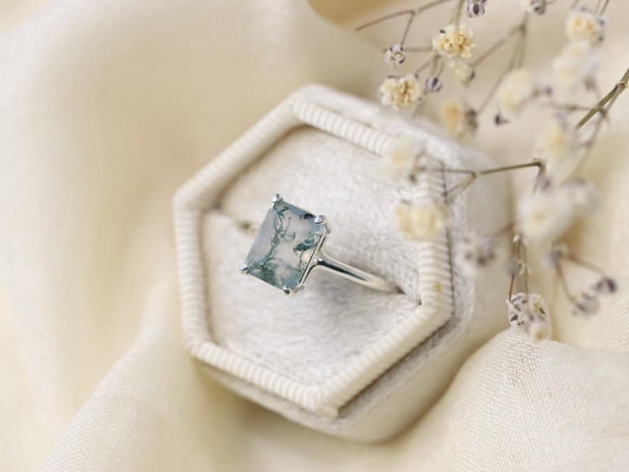 Свадьба - Moss Agate Ring, 9x7 Emerald Cut Faceted Moss Agate Ring, Moss Agate Engagement Ring, Green Moss Agate, Solitaire, 14k Gold Sterling Silver