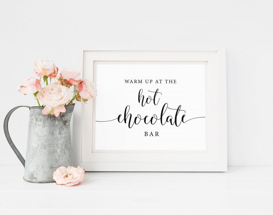 Wedding - Hot Chocolate Bar Sign, Rustic Wedding Signs, Hot Chocolate Sign, Hot Cocoa Bar Sign, Winter Wedding Sign Wedding Printable Instant Download