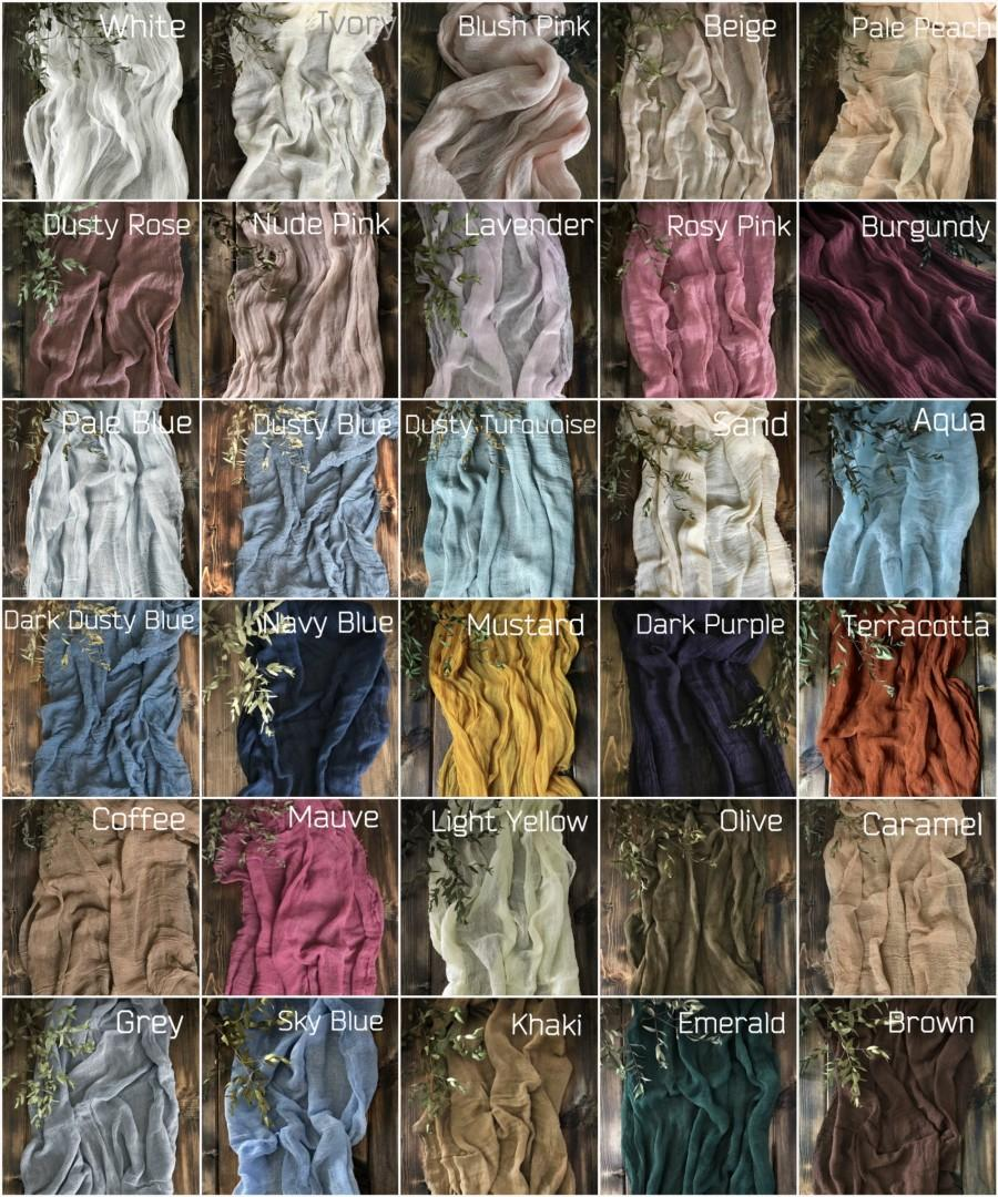 Wedding - Rustic Wedding Gauze Runner COLOR SWATCHES Cheesecloth Table Runners Rustic Table Decor Boho Wedding Centerpiece