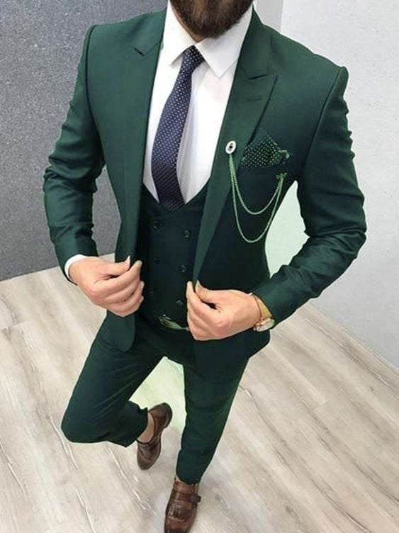 Wedding - Mens Suit Formal Fashion Green Tuxedo Suits 3 Piece Suit Slim fit Suits Groom Wear Mens Prom Suits Mens Dinner Suits