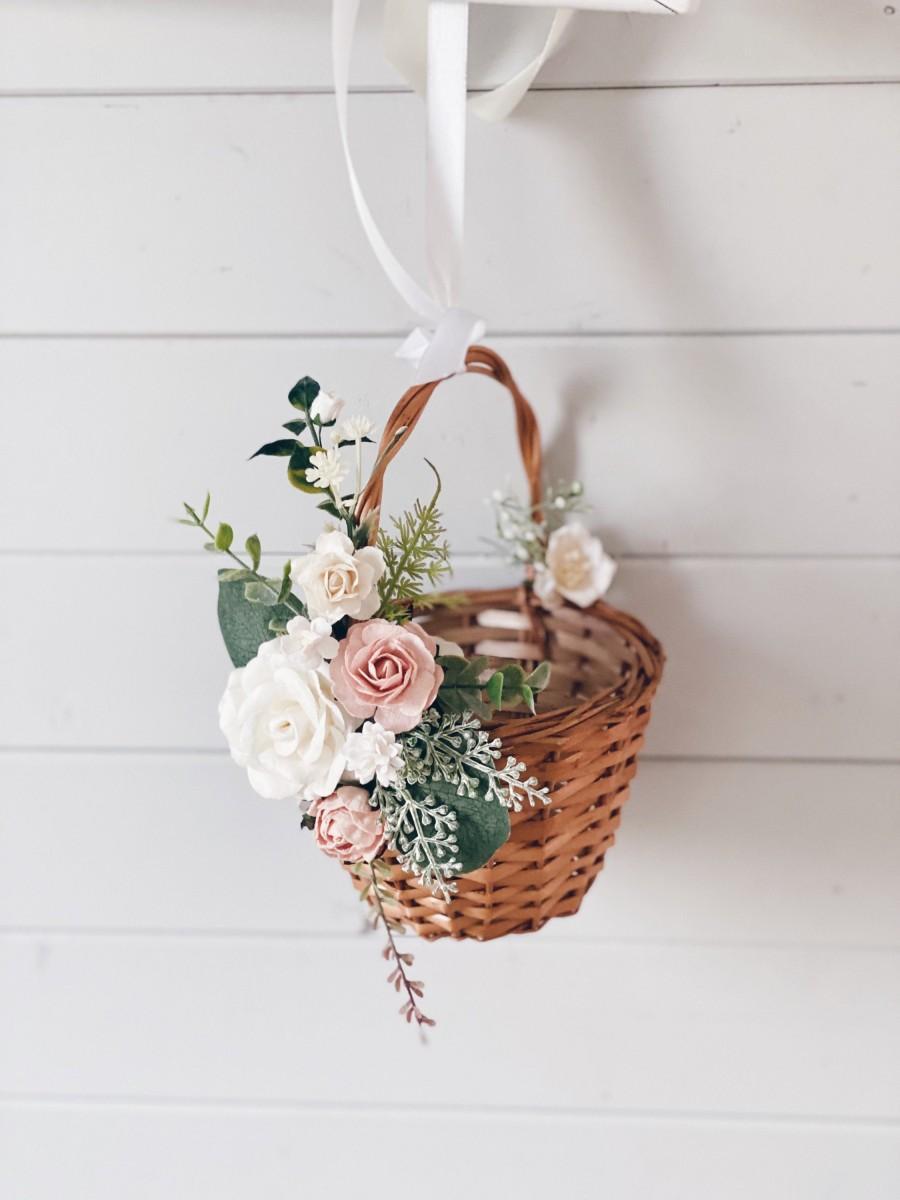 Wedding - Flower girl basket, Blush flower girl Basket, flower girl basket with flowers, Wedding decor