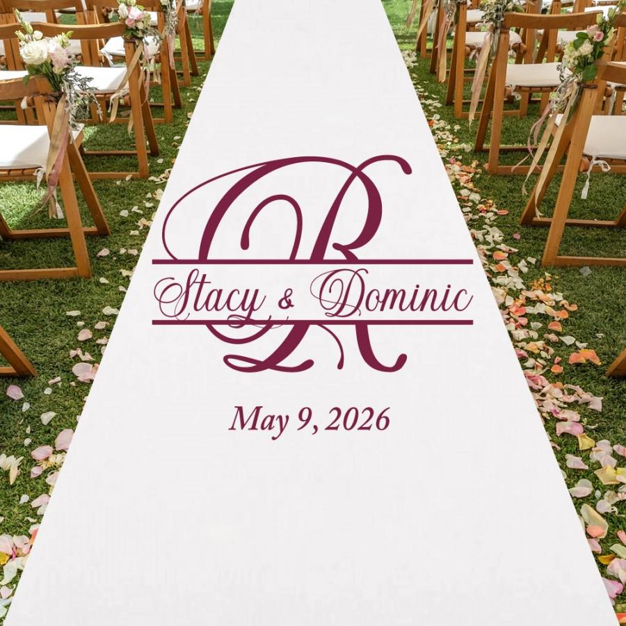 Mariage - Custom Personalized Aisle Runner Wedding Aisle Runner MAE33/ENT Plain White Aisle Runner
