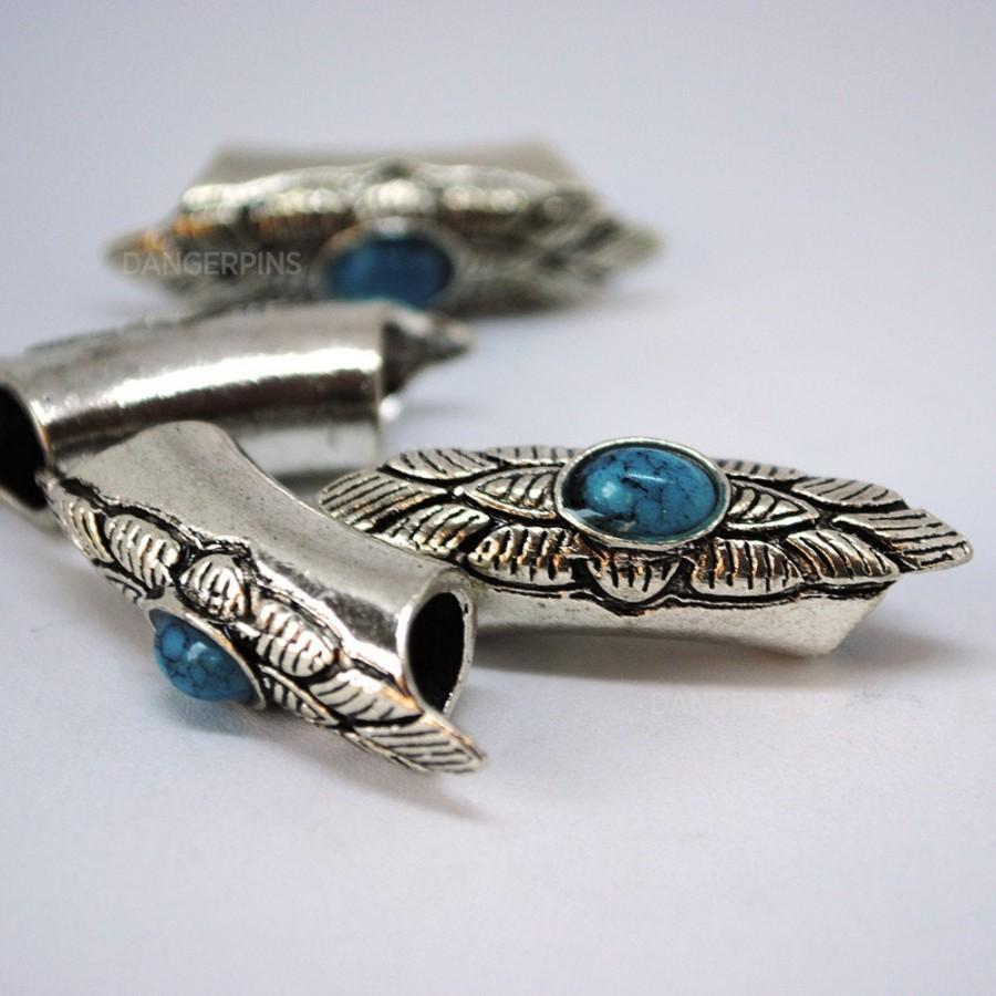 Wedding - set of 4 Large Blue or Red floral eye viking / celtic hair beard braid beads - dreadlocks charms
