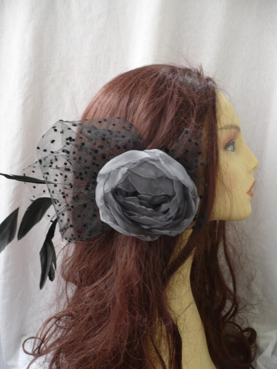 Wedding - Grey flower hairpiece, Flower headpiece, Flower clip, Flower feathers, Womens accessories, Wedding accessories, Flower hair, Woman hair
