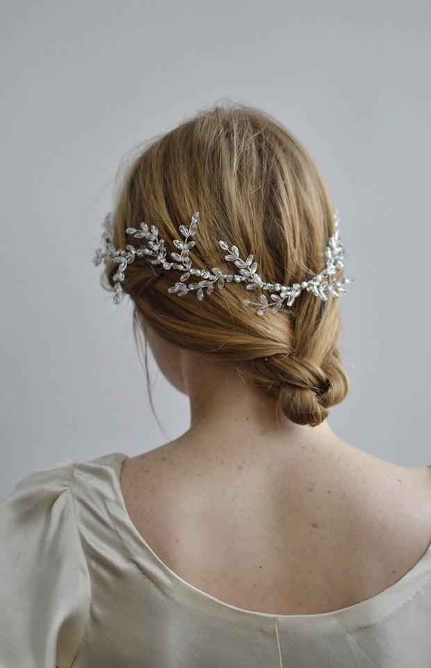 Wedding - Wreath of Frost Bridal Halo - 1920s & 1930s bridal wreath, vintage wedding, Swarovski Art Deco hair accessory