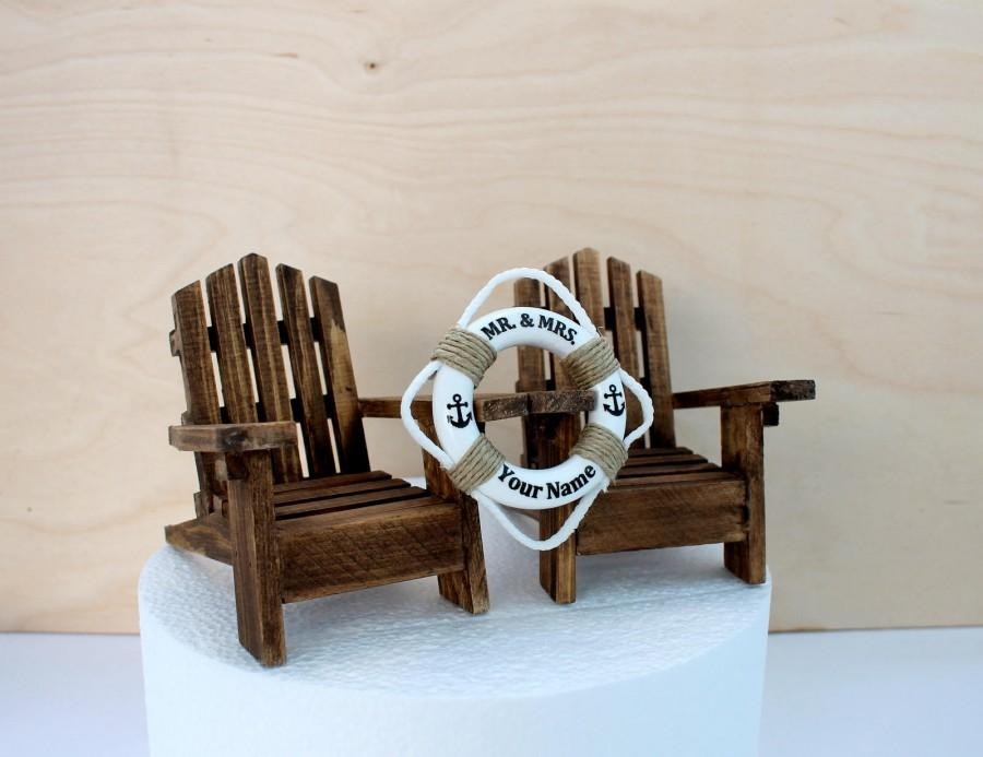 Mariage - Beach Themed Wedding Cake Topper, Adirondack Chairs, Rustic Chairs, River Wedding Cake, Personalized, Beach Chairs Wedding cake Topper,