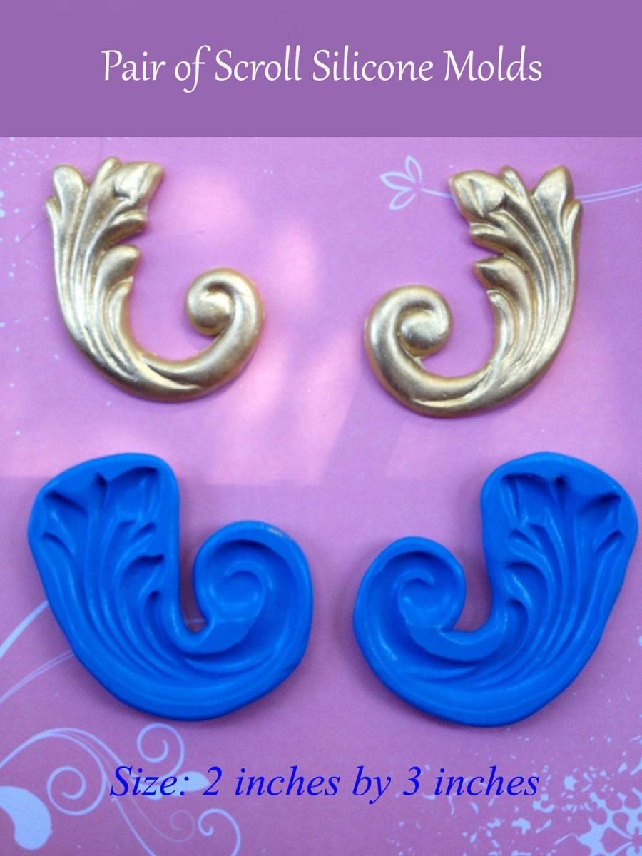 Свадьба - Pair of Large Scroll Silicone Molds