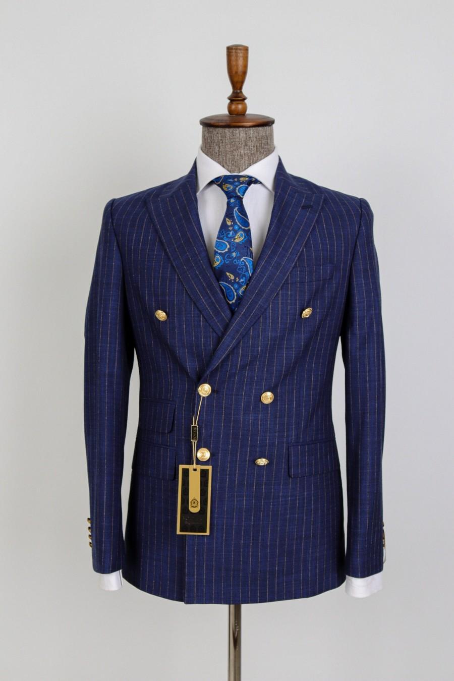 Wedding - Double Breasted Striped - Golden Button Men Suit Desginer Bespoke Suit