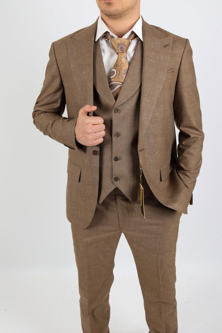 Wedding - One Button Peak Lapel  Checked & Flap Pocket 3 Piece Men Suit