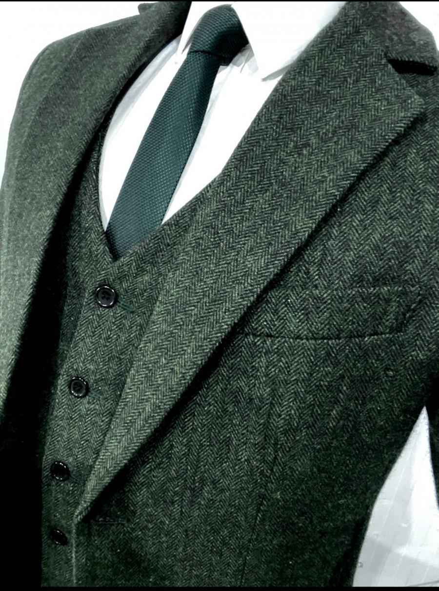 Wedding - Green Herringbone 3 Piece Tweed Suit