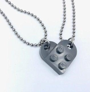Свадьба - Brick Heart Necklaces -FREE USA SHIPPING! Gray Two necklaces included
