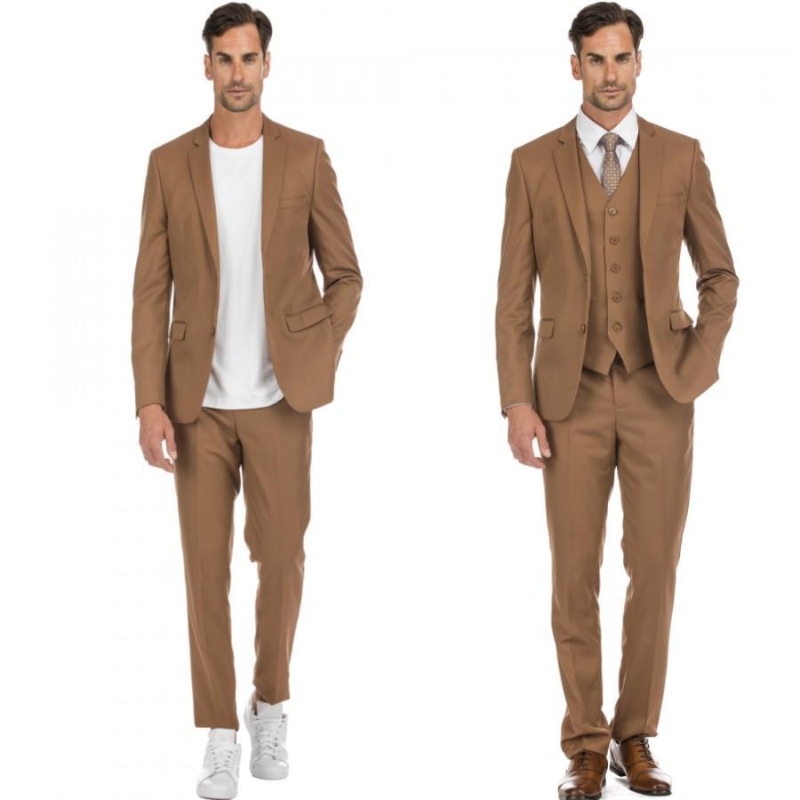 Wedding - Porto Filo 2-piece & 3-piece men's camel brown slim fit suit
