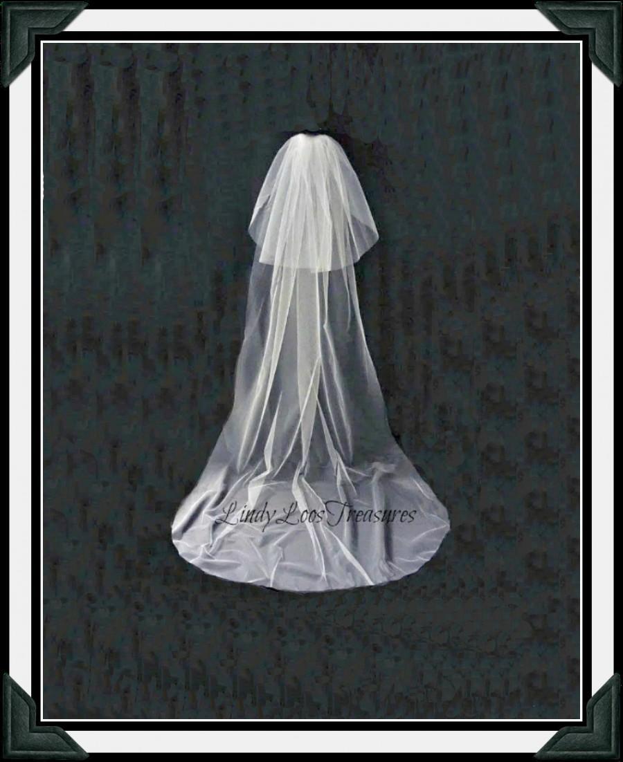 Mariage - Two Layer Cathedral Length Cut Edge Wedding Veil, Bridal Veil, Double Tier Wedding Veil, Cathedral Length Veil, Double Tier Veil