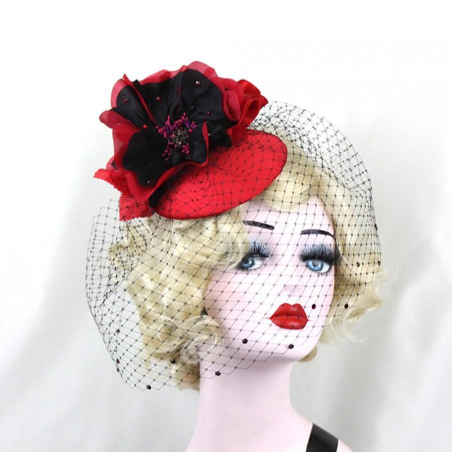 Wedding - Women's Hat, Red Fascinator, Red Hat, Cocktail Hat, Birdcage Veil, Red and Black, Black Veil, Blusher Veil, Wedding Veil, Unique Bridal