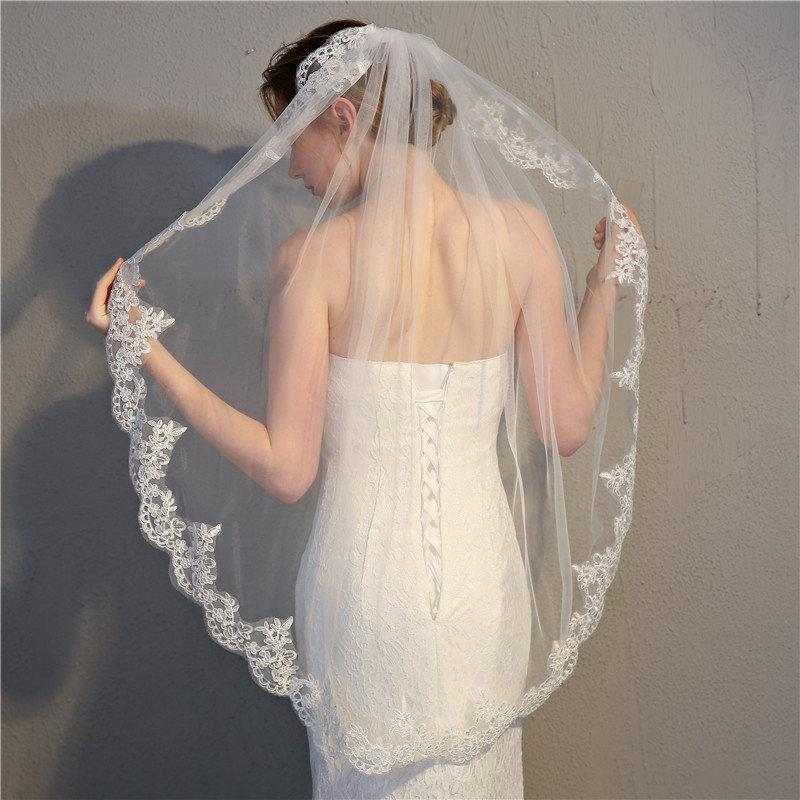 Wedding - 1 Meter White/Ivory Elegant Bridal Wedding Veil,Lace Veil With Comb,With Lace Edge Around