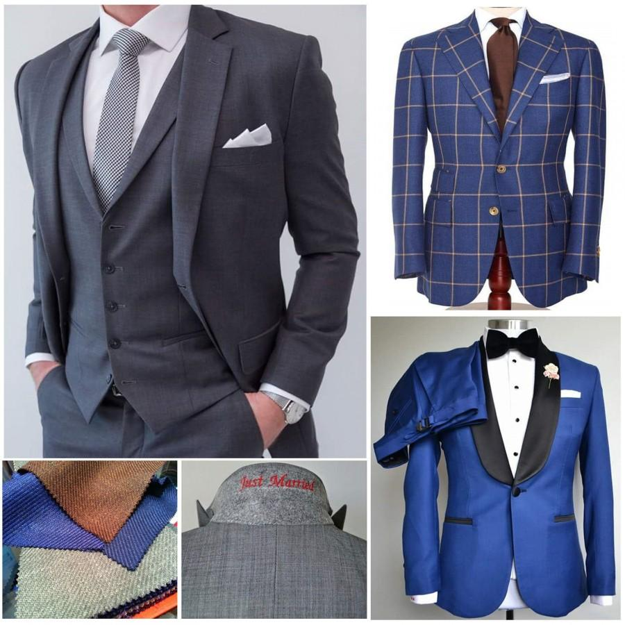 Wedding - 2 x Custom Made to Measure Business Formal Wedding Men Bespoke Suit that Fits-Custom Suit-Men's suit-Groom Suits