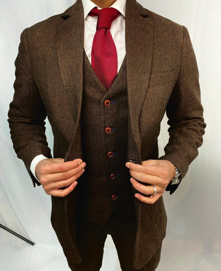 Wedding - Brown Estate Herringbone 3 Piece Tweed Suit