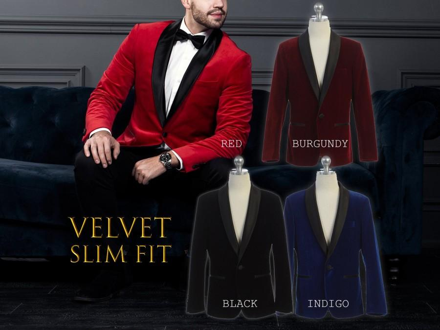 Wedding - Men Slim Fit Premium Velvet Suit Blazer Black Satin Shawl Lapel, Black, Indigo Blue, Burgundy Wine, Red, Size 34R to 46R
