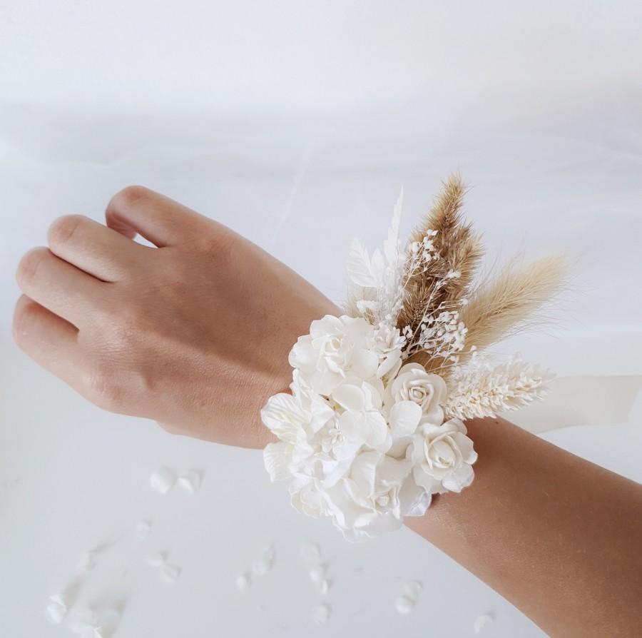 Wedding - Dried flower wrist corsage, Flower corsage, Rustic flower corsage, Dry corsage, Boho wedding, Bridesmaids gift, Wedding bracelet