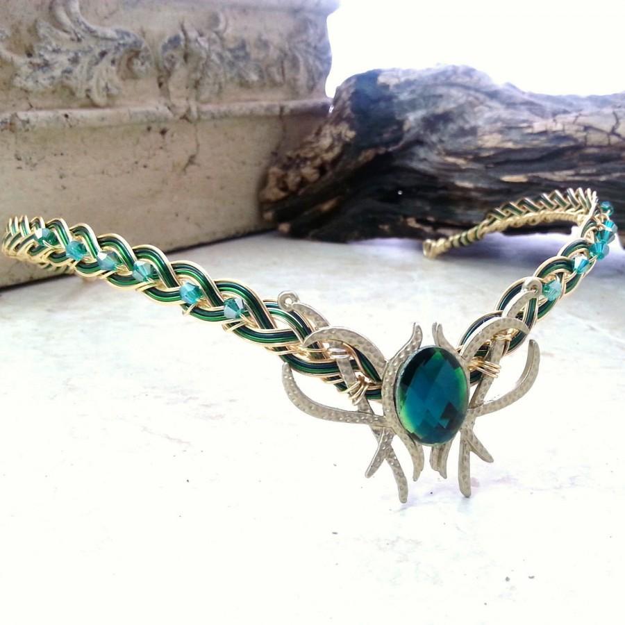 Wedding - Emerald Green Oracle Gem Elven Circlet Tiara Headdress