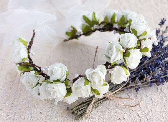 Wedding - Ivory Bridal Crown, Boho Rose Halo, Flower Girl Wreath, Communion Crown, Woodland Headband, Boho Flower Girl Crown, Ivory Rose Wedding Crown