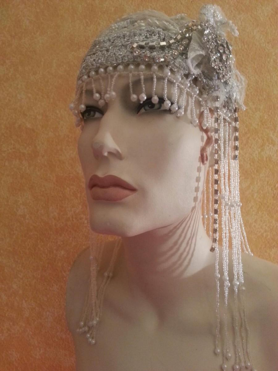 Wedding - Gatsby 20's Style Waterfall Beaded Lace Crystal Flapper Headpiece Hat Bridal Wedding Costume Party Theatrical Burlesque/More Colors Avail .