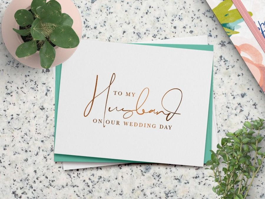 Wedding - To my husband on our wedding day card - on-the-day wedding cards - foil groom card - ANNIE-HU