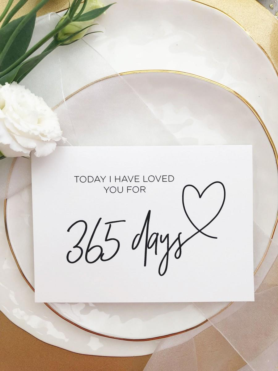Wedding - Today I Have Loved You For 365 Days Card, First Anniversary Card, 1st Anniversary Gift, Paper Anniversary, One Year Card for Husband, CS