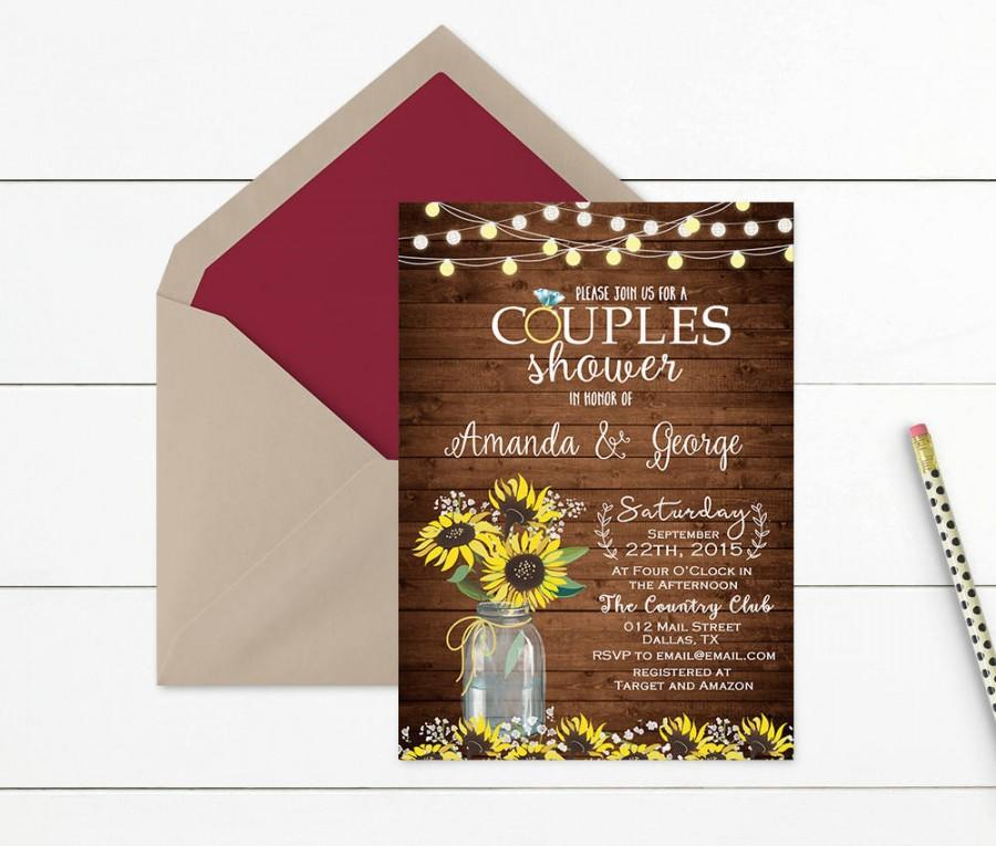 Wedding - Sunflower Rustic Couples Shower Invitation, Couples Shower Invite Printable, Rustic Wedding Shower Invitation, Mason Jar Wedding Shower