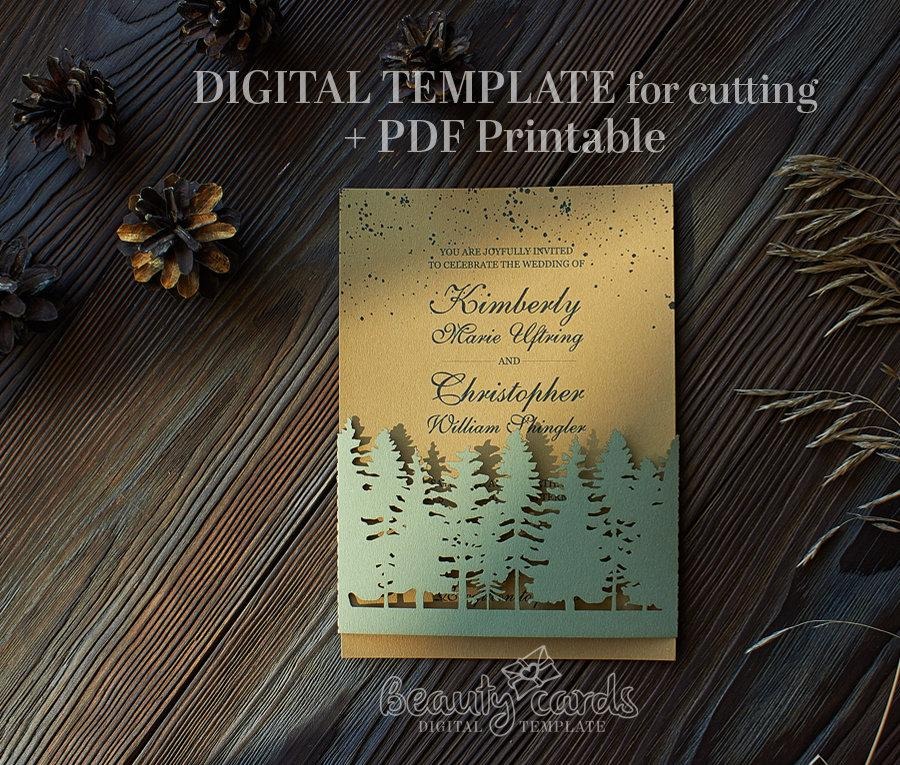 Wedding - SVG Wedding Invitation template bellyband 5x7, forest, botanic eco, rustic (svg ai dxf) vector file, laser cut silhouette Cameo Cricut
