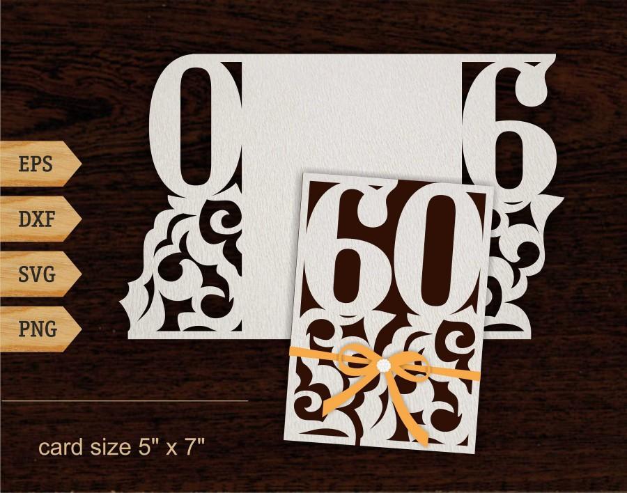 "Wedding - 60th birthday svg 60 Years Card 5x7"" SVG DXF 60th birthday gift Laser cut file Silhouette Cricut 60th birthday card Lace card cricut"