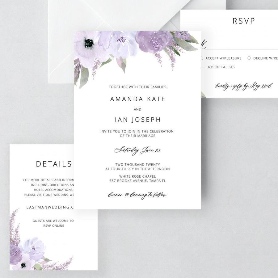Wedding - Lillian - Lavender Wedding Invitation Template Download, Wedding Invitation Set, Purple Floral Wedding Suite, Editable Instant Download