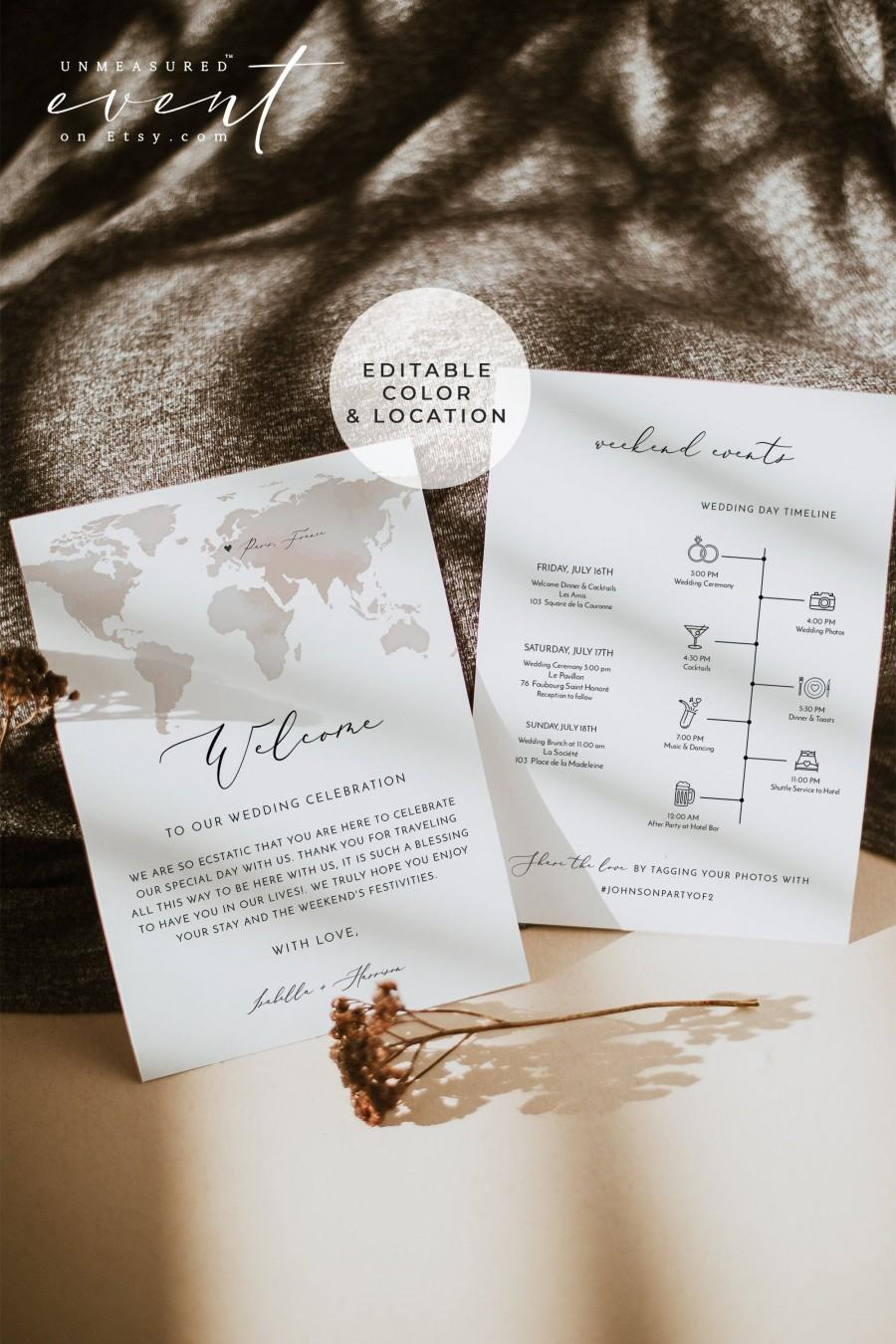 Wedding - CARMEN Destination Wedding Welcome Letter and Itinerary Template, Destination Welcome Card, Passport Wedding Timeline, Instant Download