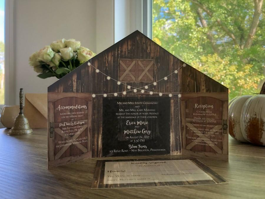 Wedding - Rustic Barn Wedding Invitation with Folding Doors and Strings of Lights • Barn Wedding Invitation • Optional postcard response card