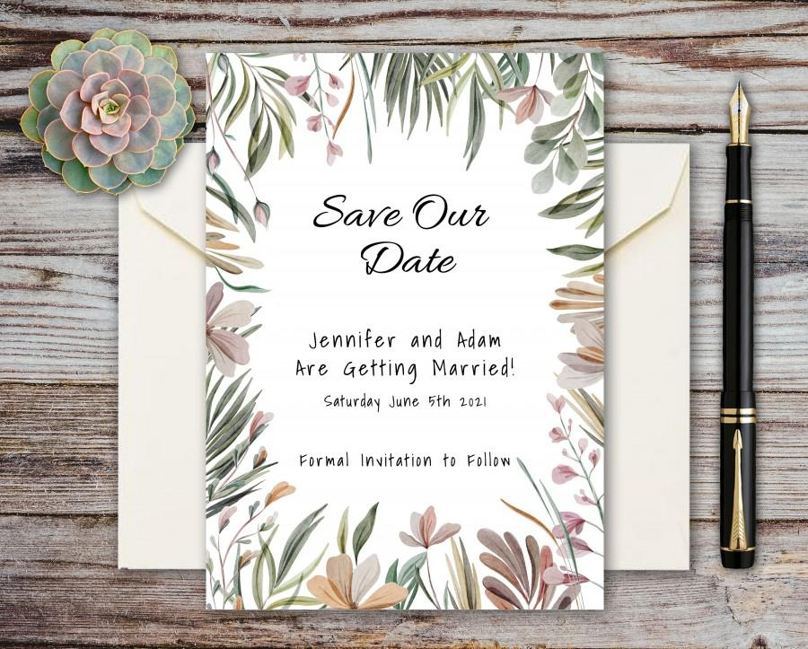 Wedding - Wedding Save the Date Card, Tropical Floral Watercolor, Editable Template, Instant Download