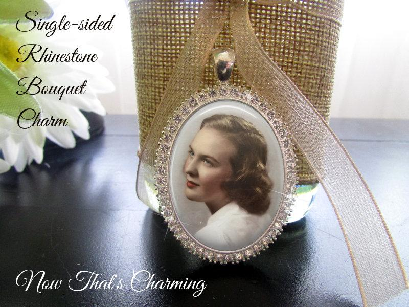 Mariage - SALE! Rhinestone Bouquet Charm - Single-sided - Oval - Personalized with Photo - Silver or Gold