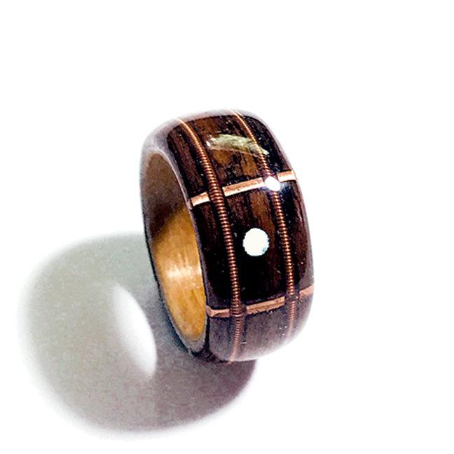 Wedding - Guitar Fretboard Wood Ring, Brazilian Rosewood Lined with Cherry, Guitar Strings and Mother Of Pearl Inlay with Copper Frets