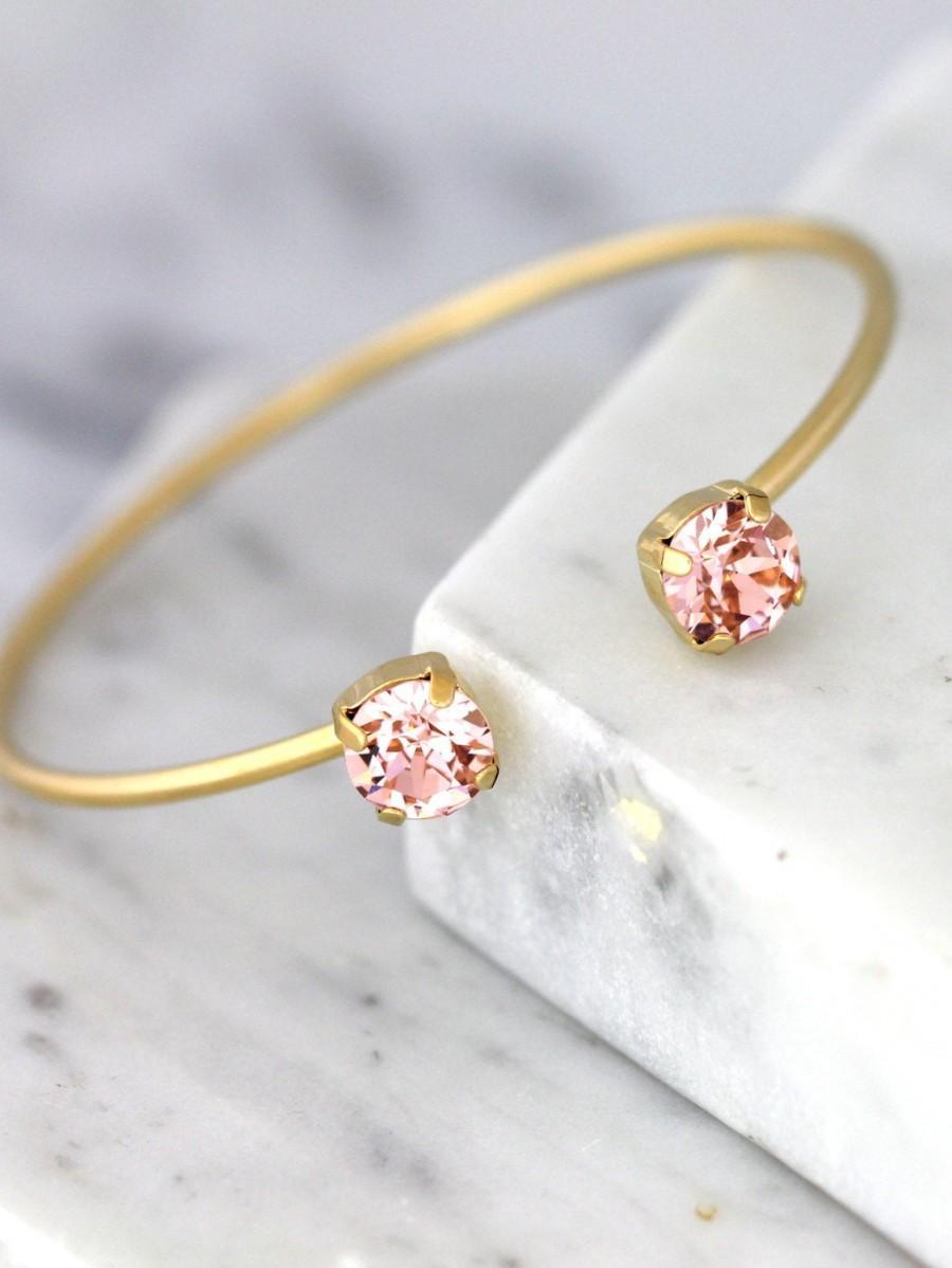 Wedding - Blush Bracelet, Bridesmaid Blush Bracelets, Swarovski Crystal Blush Cuff, Peach Bracelet, Bridal Dust Pink Bracelet, Bridal Gold Bracelet