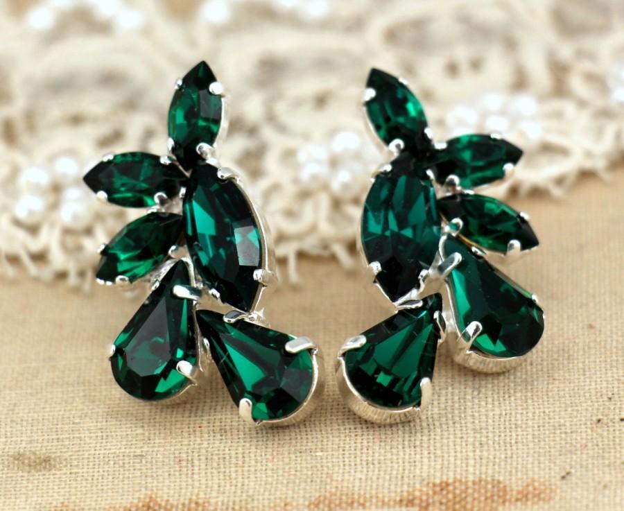 Wedding - Emerald Earrings, Bridal Earrings, Bridal Emerald Earrings, Bridesmaids Earrings, Gift For Her, Green Earrings, Emerald Green Stud Earrings