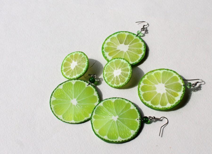 Wedding - Lime earrings lime slice post stud Lime slice earrings citrus earrings polymer clay jewelry Lime slice jewelry funny earrings Fruit earrings