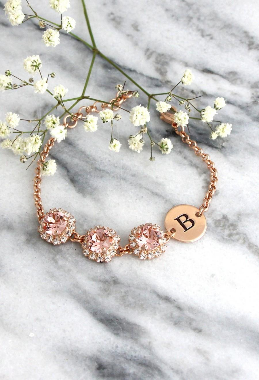 Wedding - Blush Bridesmaids Bracelet, Bridal Bracelet, Personalized Bracelet, Personalized Bridal Bracelet, Swarovski Crystal Bracelet, Letter Jewelry