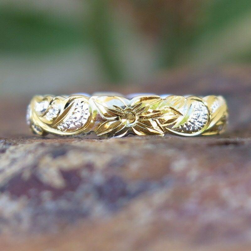 Wedding - Hawaiian 925 Silver Two Tone Gold Cutout Edge Queen Wedding Ring Band 4mm