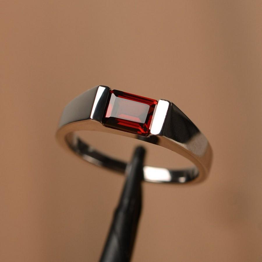 Wedding - Garnet ring emerald cut January birthstone silver solitaire ring