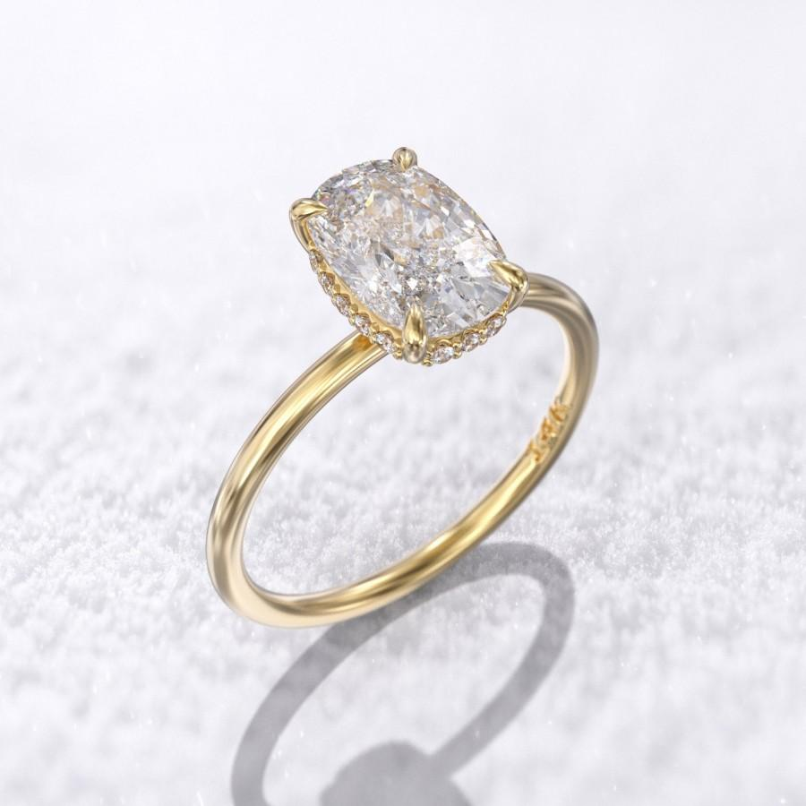 Wedding - Payment plan -  elongated cushion cut engagement ring 1.5 carat solitaire crushed ice moissanite 9x6mm & 0.08 ct Hidden halo diamond 14k